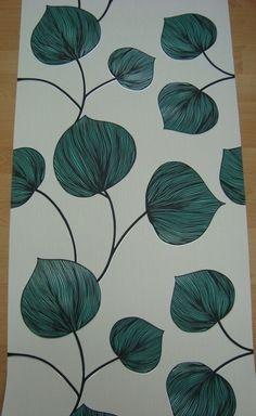 creme oud groen vinyl blad behang 10