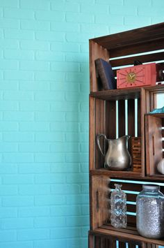 Fake a brick wall:) - I am going to so this in one of my walls in my rooms!