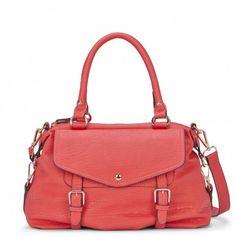 Women's Coral Faux Leather Medium Satchel