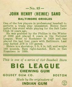 1933 Goudey #85 Heinie Sand Back