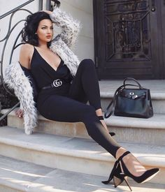 """Just a little too in love with our """"Cream/Grey Fur"""" jacket on the stunning @nataliehalcro    SHOP alyannaclothing.com #alyannaclothing"""