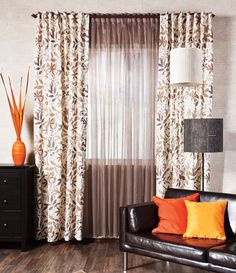 Draperie maro cu frunze Decor, Curtains, Projects To Try, Home Decor, Room