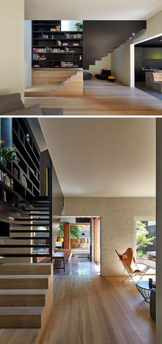 Stairs Design Ideas - 12 Examples Of Staircases With Bookshelves // This bookshelf starts when the materials change and carries on all the way to the top of the stairs.