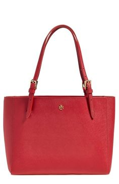Tory Burch 'Small York' Saffiano Leather Buckle Tote | in Kir Royale