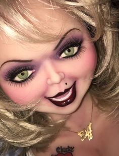 Tiffany Bride of Chucky Bride Of Chucky Makeup, Bride Of Chucky Halloween, Bride Of Chucky Doll, Bride Of Chucky Costume, Bride Makeup, Halloween 2018, Chucky And Tiffany Costume, Tiffany Bride Of Chucky, Halloween Makeup Looks