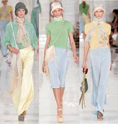 Ralph Lauren Spring 2012 - One of the other strong influences of the period on womenswear... was menswear. Wide legged trousers and collared shirts were softened by fringed/beaded bags, floaty scarves & pretty cloche hats. #Fashion #1920s