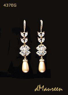 437EG GOLDEN Pearls / Gold CZ Bridal Earrings. by dMaureenVastine