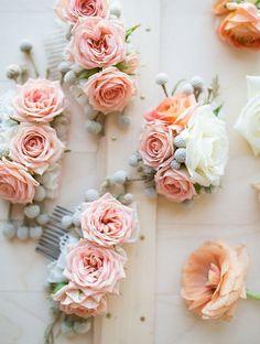 Blushing Bride Rose Hair Slide | AllFreeDIYWeddings.com