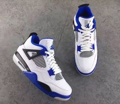 Air Jordan 4 Motorsports 2017 Release Date. Motorsports Air Jordan 4 in White, Black, Royal Blue will release in 2017 Michael Jordan's Motorsports Team Jordan 4, Jordan Retro 4, Jordan Swag, Nike Free Shoes, Running Shoes Nike, Nike Shoes, Shoes Sneakers, Roshe Shoes, Nike Roshe