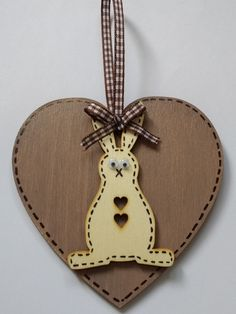 Handcrafted Wooden Hanging Heart Easter Bunny Rabbit £3.95