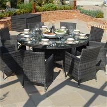 Maze Rattan - Baby LA 8 Seat Rattan Dining Set - 1.6m Round Table with Free Parasol & Base