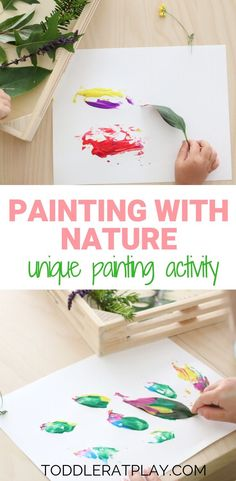 What's better than creating a unique and exciting painting experience for your kids? How about this Painting with Nature activity? Drop those paintbrushes and paint away using nature! - Painting with Nature Activity - Toddler at Play - Activities Outdoor Activities For Toddlers, Nature Activities, Toddler Learning Activities, Spring Activities, Infant Activities, Flower Activities For Kids, Kids Activity Ideas, Educational Crafts For Toddlers, Play Activity