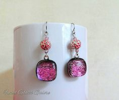 Pink dichroic glass beaded dangle earrings. The right amount of sparkle! https://www.etsy.com/listing/235432245/beaded-dangle-earrings-dichroic-glass
