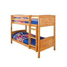 Comfy Living Christopher Pine Bunk Bed in Caramel 2 Mattresses Pine Bunk Beds, Wooden Bunk Beds, Ottoman Storage Bed, Bed Storage, Single Bunk Bed, Mattress Dimensions, Under Bed, Headboard And Footboard, Cozy Bed