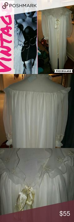 VTG Carillon peignoir Robe This piece just floats ! A piece that is timeless from a bygone era. In perfect condition except one time appears to be shorter than the other as shown in the third photo. This measure is over 40 inches long and 18 inches shoulder to shoulder and 22 inches under the arms when tied as shown. Reasonable offers are welcome. The company went out of business in 1962 so this is I believe from early sixties. Vintage Intimates & Sleepwear Robes