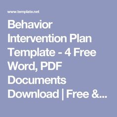 Behavior Intervention Plan Template - 4 Free Word, PDF Documents Download | Free & Premium Templates