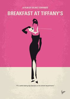 """""""No My Breakfast at Tiffanys movie poster"""" by Chungkong Art, Amsterdam // LOVE! minimal movie posters. Started out of curiosity, soon became an addiction. Result: my gallery is now featuring up to 200 titles! Take a look and find your favorite movie. Have fun. More at www.chungkong.nl. // Imagekind.com -- Buy stunning fine art prints, framed prints and canvas prints directly from independent working artists and photographers."""