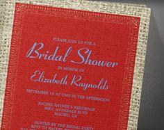 Blue Red Vintage Burlap Bridal Shower Invitation
