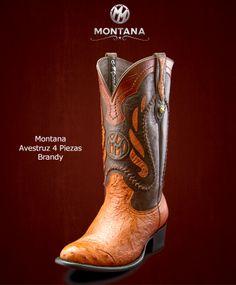 #Montana #Botas #Montana #Avestruz4Piezas #Modelo MN203A3 #Color Brandy #MontanaisBack