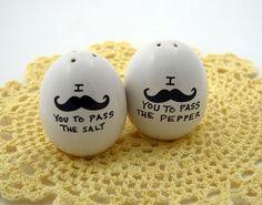 Mustache Moustache egg salt and pepper set by LennyMud on Etsy, $12.00
