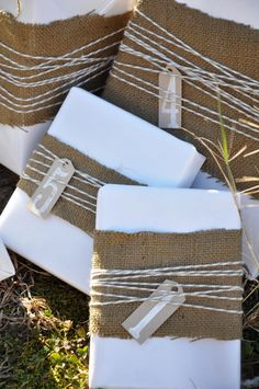 Burlap wrapped presents