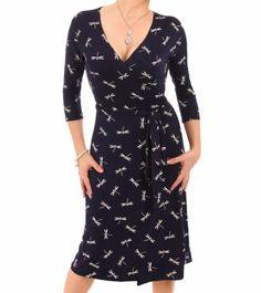 Navy Blue Dragonfly Print Wrap Dress - £34.99 #womensfashion Justblue.com