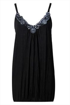 Black camisole with embellished neckline detail