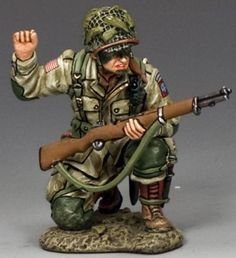 World War II U.S. 82nd Airborne DD212 Scout Kneeling to Halt - Made by King and Country Military Miniatures and Models. Factory made, hand assembled, painted and boxed in a padded decorative box. Excellent gift for the enthusiast.