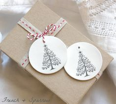 O Christmas Tree - Two Clay Tag Christmas Ornaments or Gift Tags