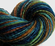 Handspun Yarn Thick and Thin Single Blue Faced Leicester 'Redwood Forest' by SheepingBeauty on @Etsy