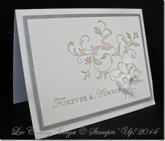 Wedding Card with Stampin Up Loving Thoughts and Creative Elements stamp sets, whisper white and brushed silver cardstock