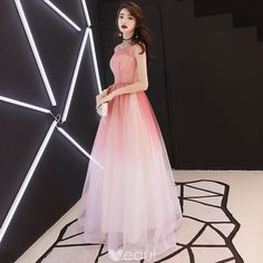Elegant Gradient-Color Prom Dresses 2018 A-Line / Princess Sequins Scoop Neck Backless Sleeveless Floor-Length / Long Formal Dresses Grad Dresses Long, Evening Dresses With Sleeves, Prom Dresses 2018, Elegant Dresses, Pretty Dresses, Beautiful Dresses, Formal Dresses, Dress Outfits, Fashion Dresses