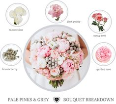 2018 Wedding Trends: How to Make a Bouquet!pink grey bouquet.Flower names. DIY Wedding Flowers Trends pink. #bouquetbreakdown #2018wedding #weddingtrends #anastasiastevenson