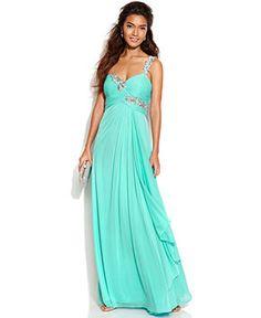 Xscape One-Shoulder Jewel-Trim Gown - Dresses - Women - Macy's