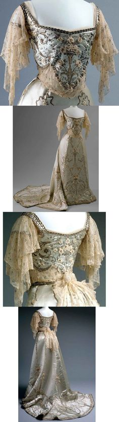 Worth ballgown, 1900-1905. Silk and cotton with metallic thread, glass, and metal ornamentation. (Sonja's note: from the amazing blog Threading Through Time)