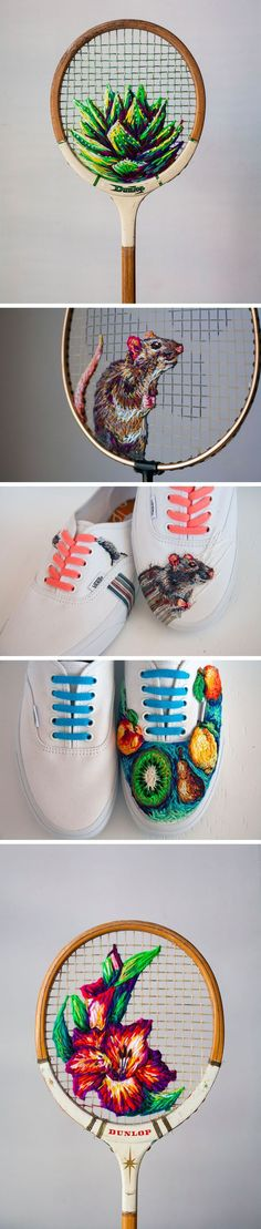 New Embroidered Works on Rackets, Shoes, and Fences by Danielle Clough Source by nikkwinkel shoes Embroidery Art, Cross Stitch Embroidery, Embroidery Patterns, Bordados E Cia, Contemporary Embroidery, Fabric Art, Cross Stitching, Textile Art, Fiber Art