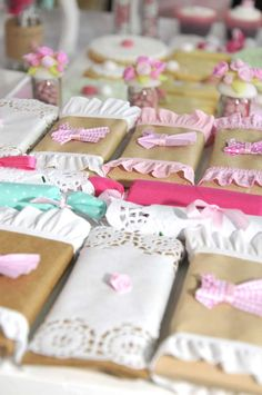 Candy treats at a shabby chic birthday party! See more party ideas at… Pink Parties, Birthday Parties, Cumpleaños Shabby Chic, Shabby Chic Birthday Party Ideas, Chocolate Wrapping, Girls Party Decorations, Party In A Box, Baby Shower Parties, Party Planning