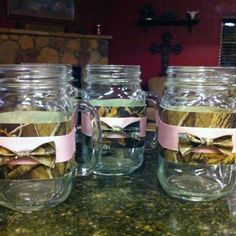 Camo duct tape on mason jars for drinks. Use a sharpie to mark your cup!