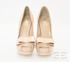 Fendi Nude Patent Leather Peep Toe Bow Platform Heels