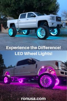 Check out our custom wheel lights which are available in different colors. Universal sizes to fit most vehicles. #customwheels #wheelsandtires