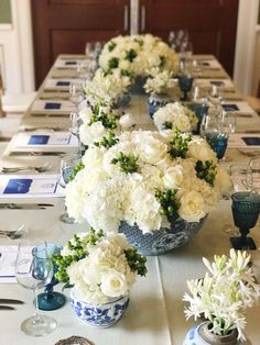 Blue and White Ginger Jar Birthday ⋆ Nico and Lala White Bridal Shower, White Baby Showers, Table Centerpieces, Wedding Centerpieces, Wedding Decorations, Centrepieces, Floral Wedding, Wedding Flowers, Bridal Luncheon