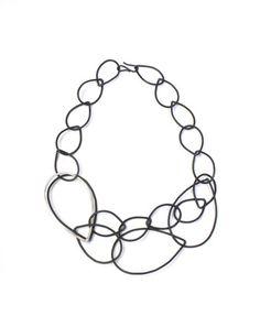 Daphne necklace - black chain link statement necklace – megan auman