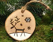 Items similar to Reindeer Christmas Ornament - Handmade Wood Burned Ornament - One Of a Kind - Kersthanger Rendier on Etsy