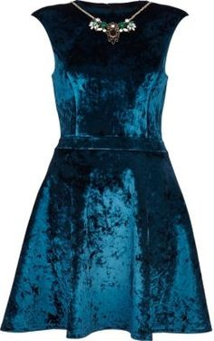 50% Off was £60.00 now £30.00 River Island Blue Velvet Necklace Prom Dress