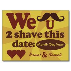 Funny wedding anniversary invitation pinterest wedding custom retro mustache save the date postcard stopboris Images