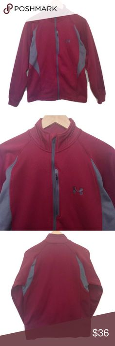 """Under Armour Maroon Athletic Jacket Maroon athletic jacket with gray accents from Under Armour, size small. Zip pocket on chest perfect for storing a key or phone while exercising. Thicker material which is perfect for fall and winter. Like new condition, no stains or flaws. • Material: 100% polyester • Length: 25"""", Chest: 20.5"""", Inseam: 21"""" Under Armour Jackets & Coats Performance Jackets"""