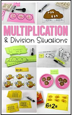 multiplication lessons and ideas for second grade or beginning multiplication and division situations Second grade multiplication lessons, second grade division lessons, multiplication and division situations, hands on learning for multiplication Division For Kids, Teaching Division, Division Activities, Math Division, Multiplication And Division, Teaching Math, How To Teach Division, 3rd Grade Division, Division Strategies