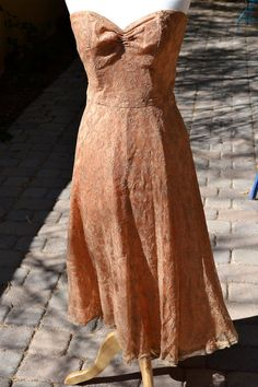vtg 1950s Nude Pink Lace crepe Party by faintofheartvintage, $125.00
