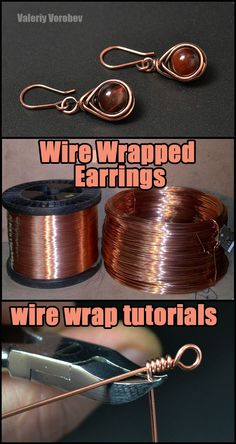 How to Make Wire Wrapped earrings. Step by step wire wrap tutorial. Wire Jewelry Designs, Handmade Wire Jewelry, Jewelry Crafts, Earrings Handmade, Wire Crafts, Copper Wire Jewelry, Origami Jewelry, Handmade Copper, Stone Jewelry