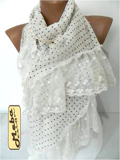 New White Scarf Elegant scarf  scarves  Fashion by MebaDesign